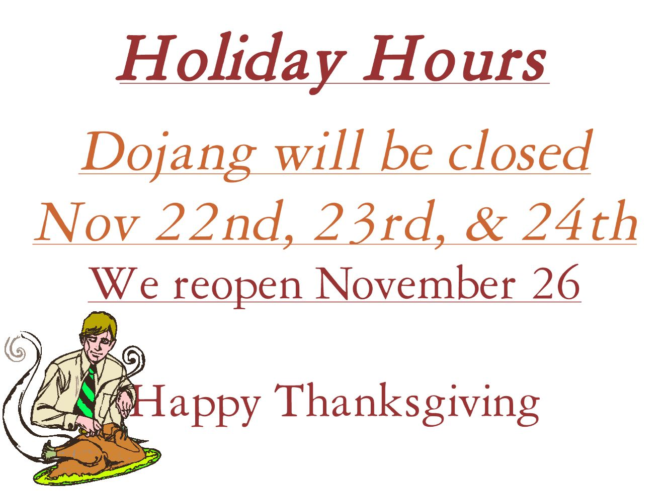 holiday hours thanksgiving 2018